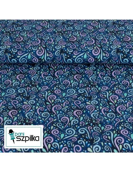 Tkanina bawełniana Blue Purple Scroll