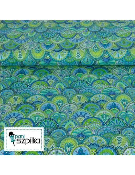 Tkanina bawełniana Blue Green Scallop