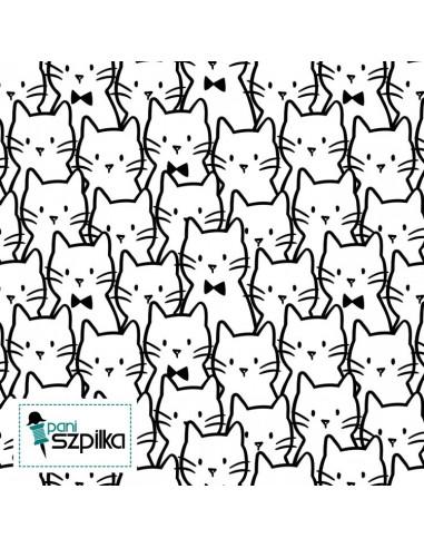 Tkanina bawełniana Meow: White Cat Cluster