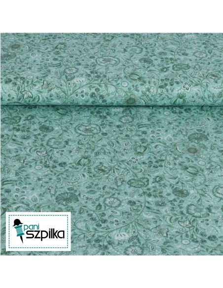 Tkanina bawełniana Mint Floral