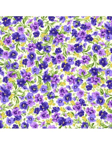 Tkanina bawełniana Cream Packed Pansies