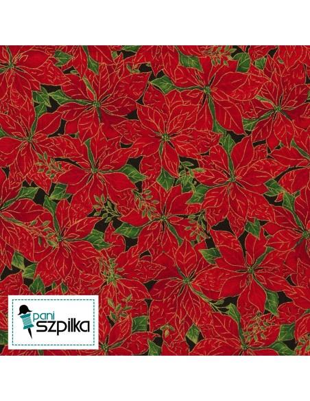Tkanina bawełniana Red Poinsettia Metallic