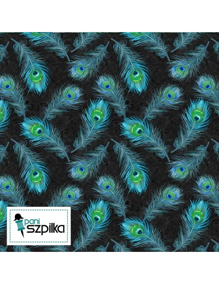 Plumage: Blue Feathers Allover kupon 36 cm x 110 cm