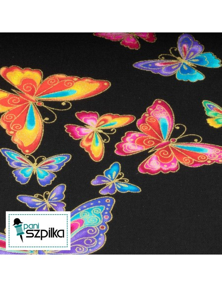 Tkanina bawełniana Black Butterflies Metallic