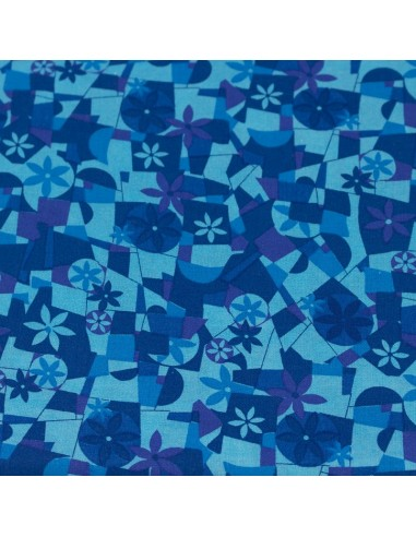 Blue Blenders 8 tkanina bawełniana w abstrakcyjne wzory i kwiaty