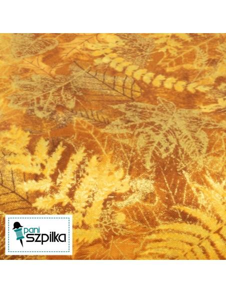 Tkanina bawełniana Gold Leaves Metallic