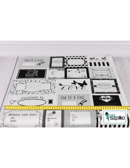 Panel bawełniany  Black Sewing Labels