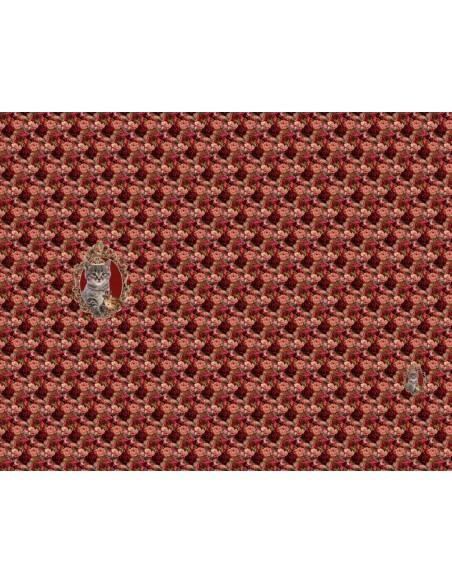 Panel dzianinowy 120 cm dżersej kot kwiaty