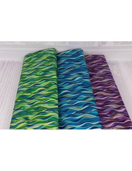 Tkanina bawełniana Azure Dancing Waves kupon 35x110 cm