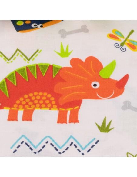 Tkanina bawełniana White Tossed Dino