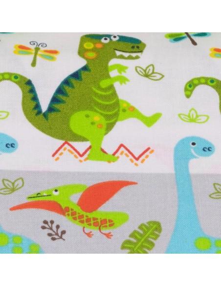 Tkanina bawełniana Multi Dino Stripe