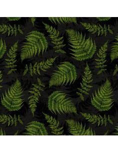 Cotton fabric Black Fern...