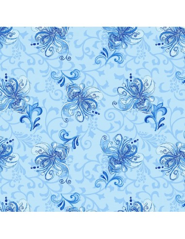 Tkanina bawełniana Blue Small Toss...