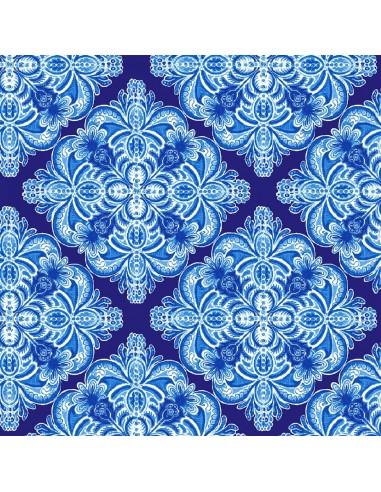 Tkanina bawełniana Blue Casablanca Tile