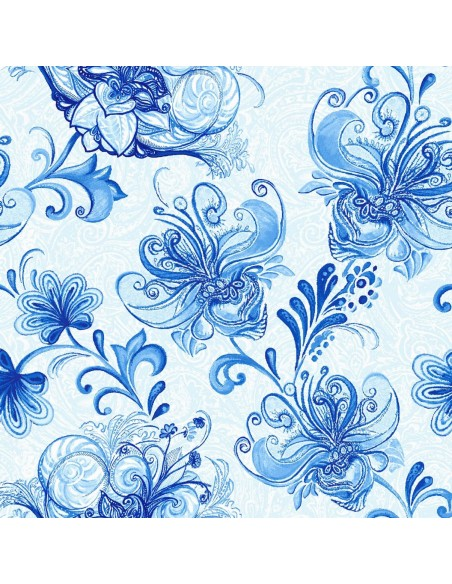 Tkanina bawełniana Light Blue Large Floral Vine
