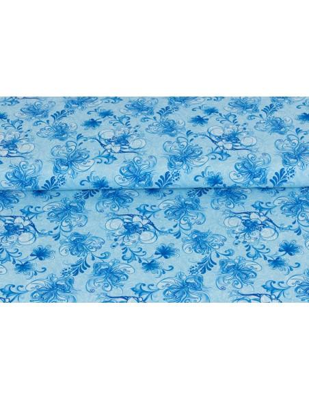 Tkanina bawełniana Medium Blue Large Floral Vine