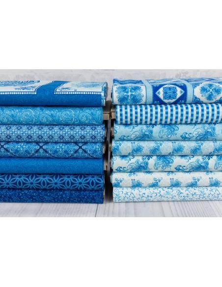 Tkanina bawełniana Light Blue Small Toss Floral