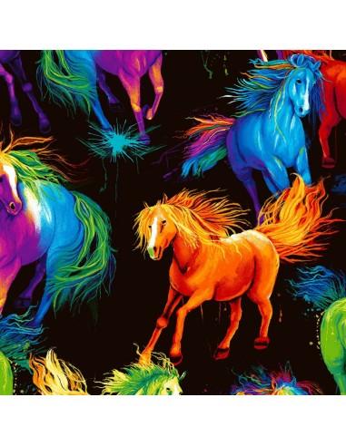 Tkanina bawełniana Black Horses