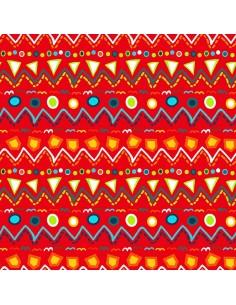Tkanina bawełniana Red Zig Zag