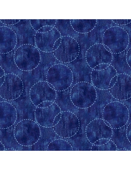 Tkanina bawełniana Indigo Circles