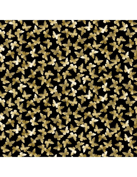 Tkanina bawełniana Black Butter Flutter Metallic