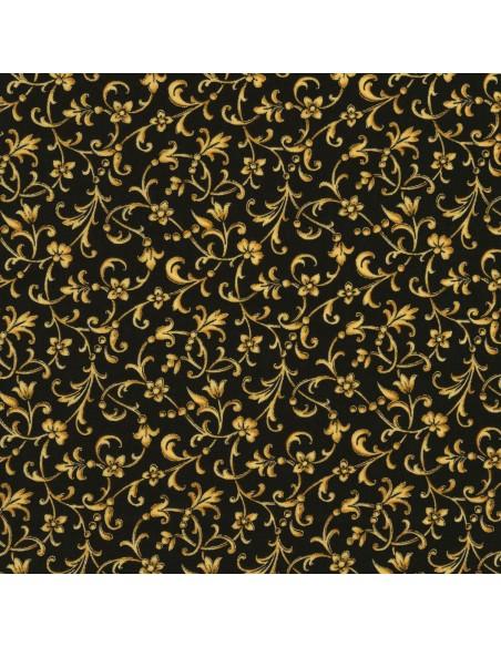 Tkanina bawełniana Black Scroll Metallic