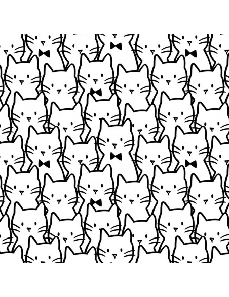 Meow White Cat Cluster Camelot cotton fabric