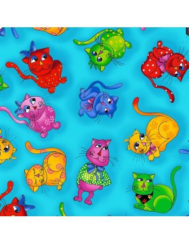 Tkanina bawełniana Turquoise Cats