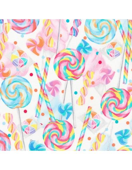Tkanina bawełniana White Lollipops 25 cm x 110 cm
