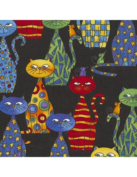 Tkanina bawełniana Black Multi Cats