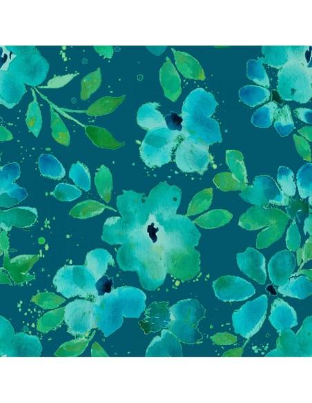Tkanina bawełniana Blue Water Floral
