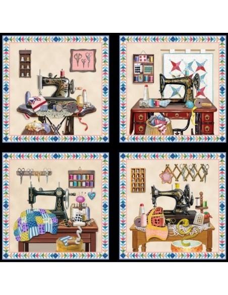 Panel bawełniany Black Sewing Blocks
