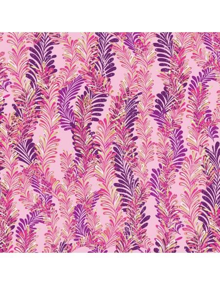 Pink Jeweled Ferns Metallic Benartex tkanina bawełniana w liście paproci