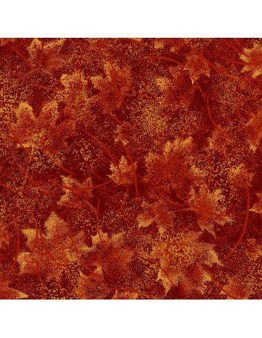 Tkanina bawełniana Burnt Tonal Leaves