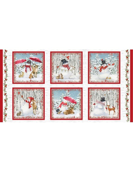 Panel bawełniany Sheltering Snowman Blocks Multi