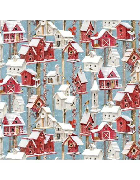Tkanina bawełniana Winter Birdhouses Blue