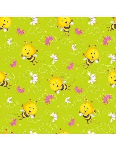 Tkanina bawełniana Green Allover Bees