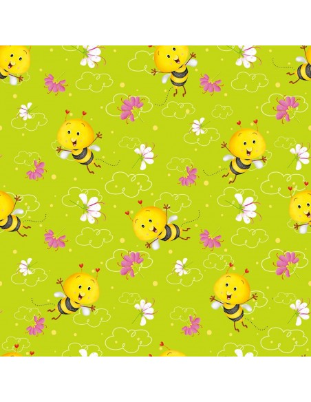 Busy Bees Green Allover Bees Henry Glass cotton fabric
