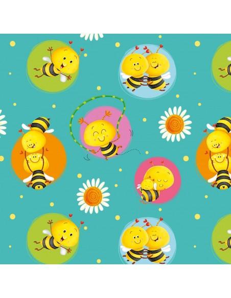 Tkanina bawełniana Jade Bees in Circles