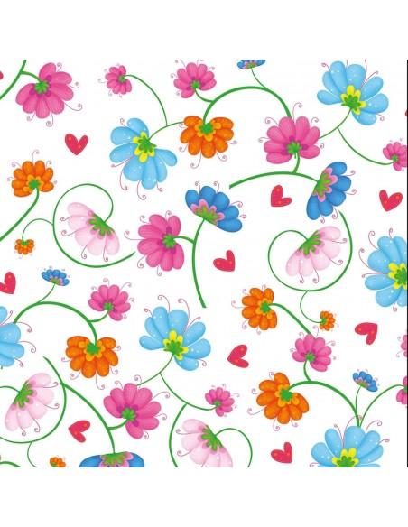 Tkanina bawełniana White Multi Flowers