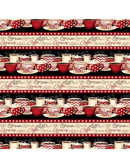 Tkanina bawełniana Multi Coffee Repeating Stripe