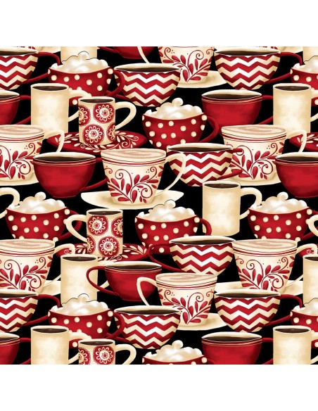 Tkanina bawełniana Black Packed Coffee Cups