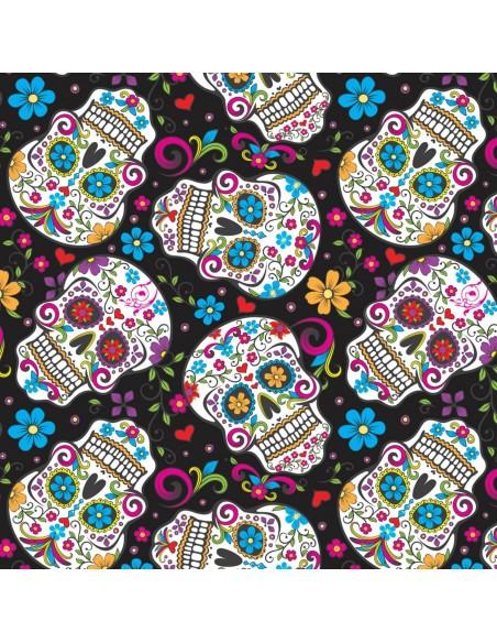 Tkanina bawełniana Black Folkloric Skulls