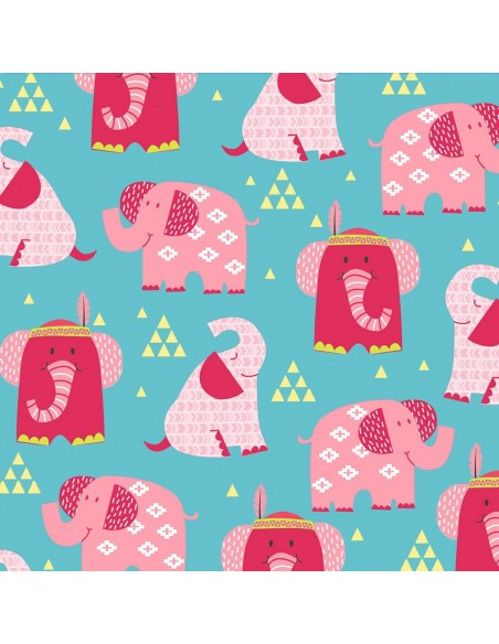 Tkanina bawełniana Aqua Elephants