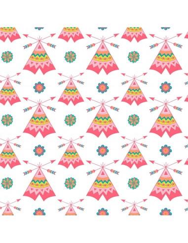 Tkanina bawełniana White Pink Tee Pees