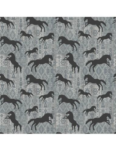 Tkanina bawełniana Grey Horses...