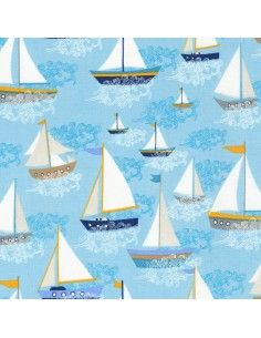 Sea Sailboats cotton fabric