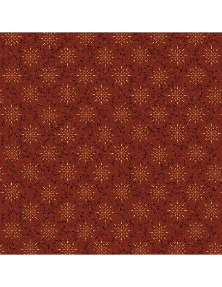 Tkanina bawełniana Deep Red Starburst
