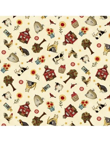 Cream Novelty Toss cotton fabric