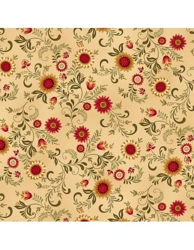 Gold Sunflower Vines cotton fabric
